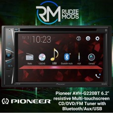 "Pioneer AVH-G220BT 6.2"" Multi-touchscreen CD/DVD tuner with Bluetooth, Aux, USB"