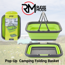 Summit Pop Folding Basket Lime Green & Grey - ideal for Camping
