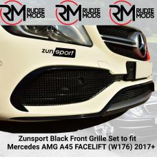 Zunsport Black Front Grille Set to fit Mercedes AMG A45 FACELIFT (W176) 2017+
