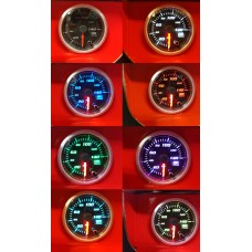 52mm Multi Colour Oil Pressure PSI Gauge Clear Face Car