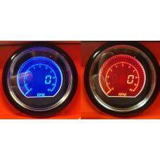 60mm EVO Car Tach RPM 10000RPM Gauge Gauge Red and Blue LCD Digital Display