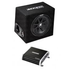 "Kicker 41KKP212 12"" Vented Car Audio Subwoofer Enclosure & 2 Channel Amplifier"
