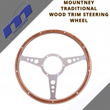 "Classic 15"" Wood Trim 3 Spoke Car Steering Wheel By Mountney 53FPCWH"