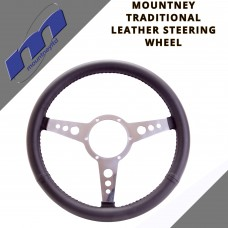 "Classic 14"" Leather Trim 3 Spoke Car Steering Wheel By Mountney 43FPLB/LX"