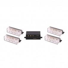 LED Warning Lights - 4 x 3 Strobe LED - Amber Orange