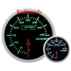 Prosport Diesel 52mm Smoked Super Green/White Turbo Boost Gauge 0-45 PSi