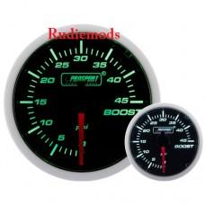 Prosport Diesel 52mm Smoked Super Green/White Turbo Boost Gauge 0-45 PSi