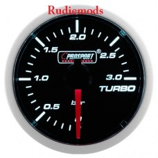 Prosport Diesel 52mm Smoked Super White Turbo Boost Gauge 0-3 Bar