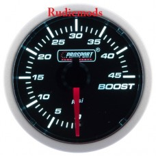 Prosport Diesel 52mm Smoked Super White Turbo Boost Gauge 0-45 PSI