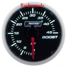 Prosport Diesel 52mm Smoked Super White Turbo Boost Gauge 0-45 PSI