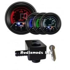 Prosport Ford Fiesta ST180 60mm Peak Warning Boost Gauge PSI and fitting adaptor