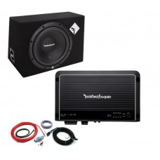"Rockford Fosgate Prime R1-1x10 10"" Enclosed Subwoofer + R250X1 Amplifier + Kit"