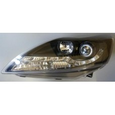 FORD FOCUS MK2 05 - 08 BLACK DRL R8 STYLE HEADLAMPS NEW