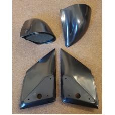 Black Manual DTM Style Mirrors & Base Plates fits Citroen C2 2002 - 2010