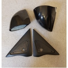Black Manual DTM Style Mirrors & Base Plates To Fit Ford Escort MK5 MK6 91 - 95