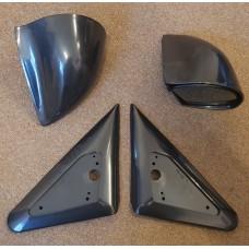 Black Manual DTM Style Mirrors & Base Plates fits Ford Mondeo MK1 MK2 93 - 2000