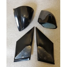 Black Manual DTM Style Mirrors & Base Plates To Fit Ford Fiesta MK6 2002 - 2008