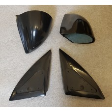 Black Manual DTM Style Mirrors & Base Plates To Fit Ford Puma 1997 - 2001