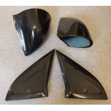 Black Manual DTM Style Mirrors & Base Plates To Fit Vauxhall Astra G 1998 - 2004