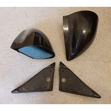 Black Manual DTM Style Mirrors & Base Plates To Fit Subaru Impreza Classic