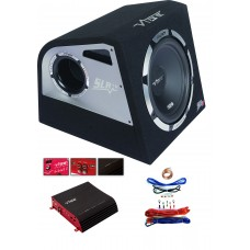 "Vibe Slick SLR12 12"" 30cm Car Subwoofer Box + Pulse Stereo 2 Amp + Wiring Kit"