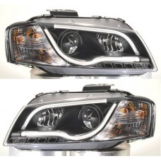 Audi A3 Mk2 8P 03-08 Black DRL Light Bar Projector Headlights