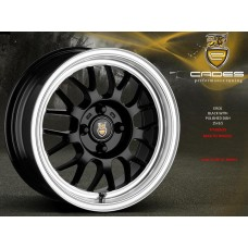 "CADES EROS 15"" black with polished dish alloy wheels euro look"