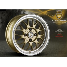 "CADES EROS 15"" gold with polished dish alloy wheels euro look"