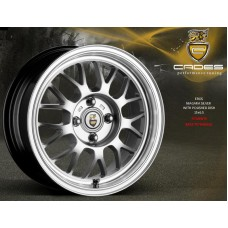 "CADES EROS 15"" silver with polished dish alloy wheels euro look"