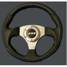 MOUNTNEY Leather 300MM Steering Wheel Black/Silver