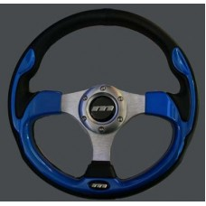 MOUNTNEY Black Leather and Blue 320mm Sport Steering wheel