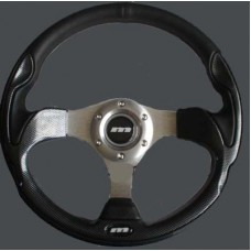 MOUNTNEY Black Leather and Carbon 320mm Sport Steering wheel