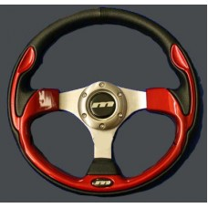 MOUNTNEY Black Leather and Red 320mm Sport Steering wheel